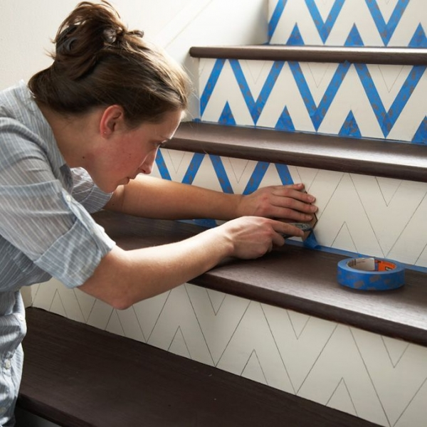 Masking tape escalier