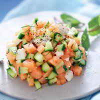 Tartare melon feta concombre menthe